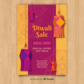 Plantiila adorable de folleto de rebajas de diwali dibujado a mano