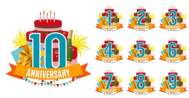 Plantilla de 1 a 10 años aniversario felicitaciones