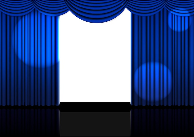Plantilla 3d cortina azul abierta realista.