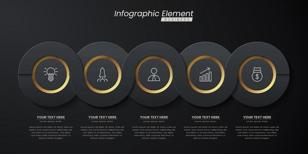 Plantilla 3d infografía elegante oro oscuro con pasos para el éxito. presentación con iconos de elementos de línea.
