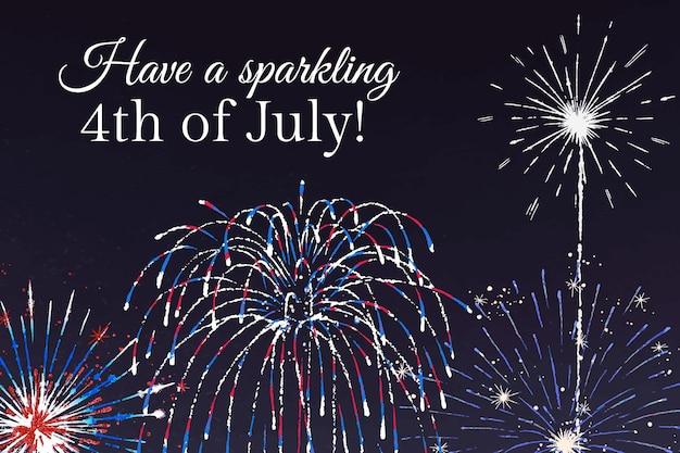 Plantilla del 4 de julio para banner, tenga un 4 de julio brillante