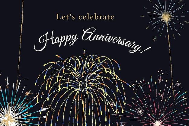 Plantilla del 4 de julio para banner con texto editable, feliz aniversario