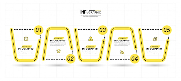 Plantilla de 5 pasos de infografía creativa