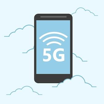 Plantilla 5g con smartphone volando. tecnología web móvil de alta velocidad. ilustración vectorial.