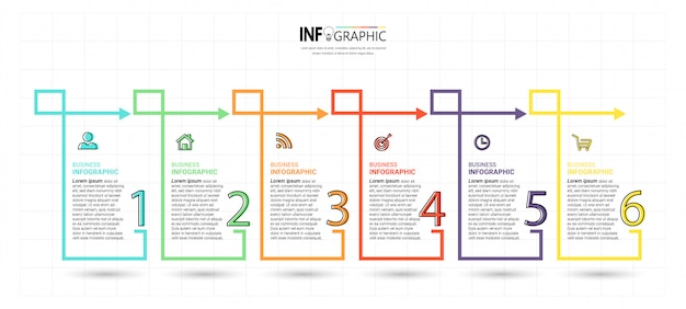 Plantilla de 6 pasos de infografía creativa