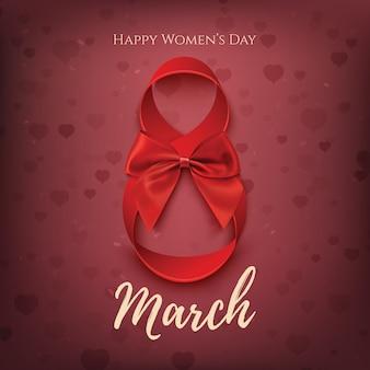 Plantilla de 8 de marzo con lazo rojo y lazo. fondo del día de la mujer.