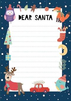 Plantilla a4 de carta a santa claus con lindos personajes navideños. lista de deseos navideños.