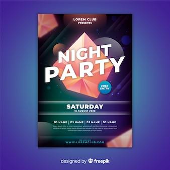 Plantilla abstract de poster de fiesta nocturna