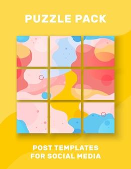 Plantilla abstracta 9 publicaciones para redes sociales colores brillantes nueve diseño de fondo ilustración vectorial