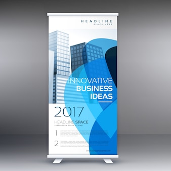 Plantilla abstracta azul de banner roll up