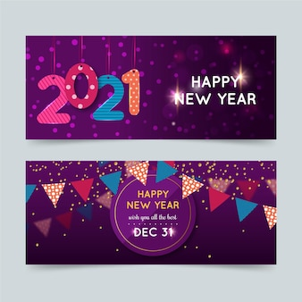 Plantilla abstracta de banners de fiesta de año nuevo 2021