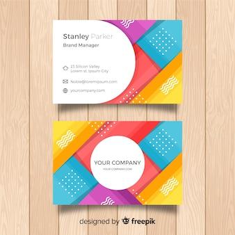 Plantilla abstracta de tarjeta de negocios con formas geométricas