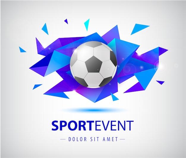 Plantilla abstracta de fútbol para portadas de fútbol, pancartas, carteles deportivos, carteles y folletos con pelota. forma geométrica faceta aislada.