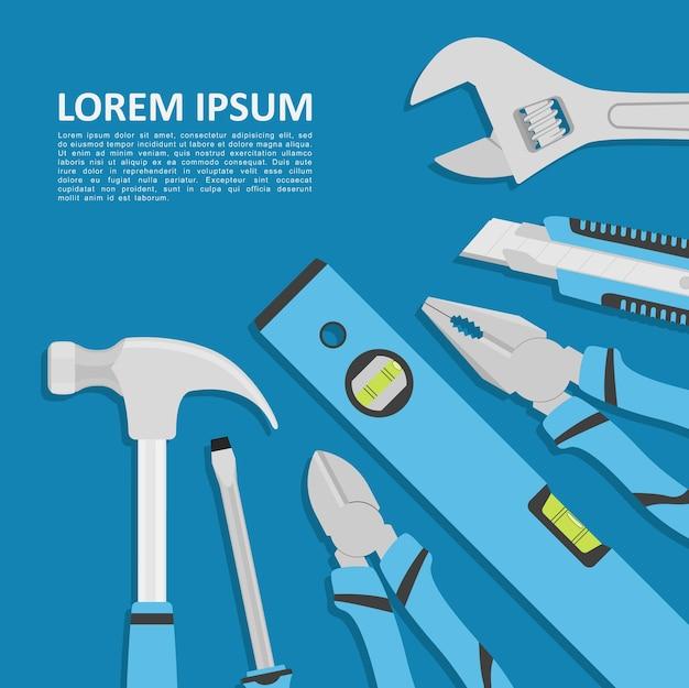 Plantilla abstracta con herramientas sobre fondo azul, ilustración de estilo