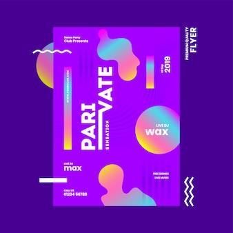 Plantilla abstracta o diseño de volante con detalles del lugar para la fiesta de private sensation.
