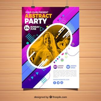 Plantilla abstracta de póster de fiesta con formas geométricas