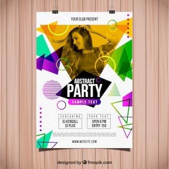 Plantilla abstracta de póster de fiesta con foto