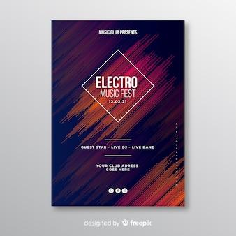 Plantilla abstracta de póster de música electrónica