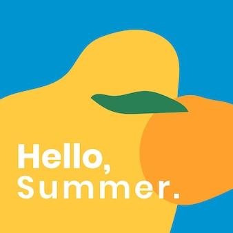 Plantilla abstracta de redes sociales con texto de hola verano