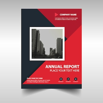 Plantilla abstracta roja rectangular de reporte anual