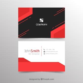 Plantilla abstracta roja y negra de tarjeta de negocios
