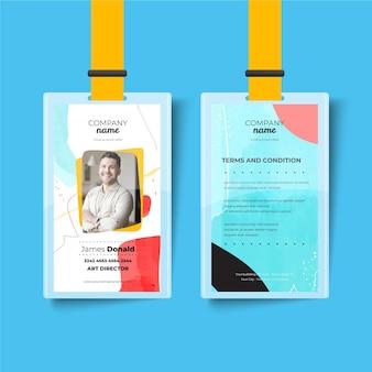 Plantilla abstracta de tarjeta de identificación delantera y trasera