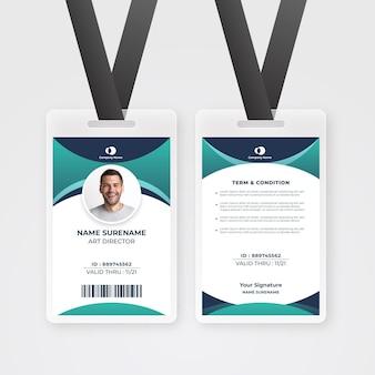 Plantilla abstracta de tarjeta de identificación de empleado con foto