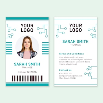 Plantilla abstracta de tarjetas de identificación con foto