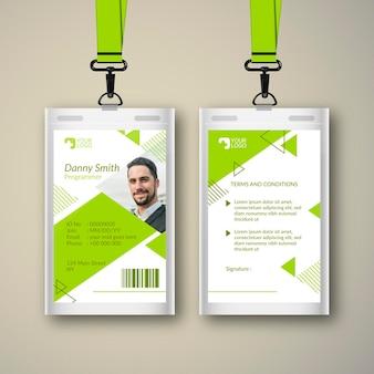 Plantilla abstracta para tarjetas de identificación con foto