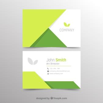 Plantilla abstracta verde de tarjeta de negocios