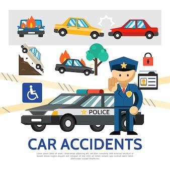 Plantilla de accidente de tráfico plano con coches en llamas y cayendo transporte policial de accidentes automovilísticos