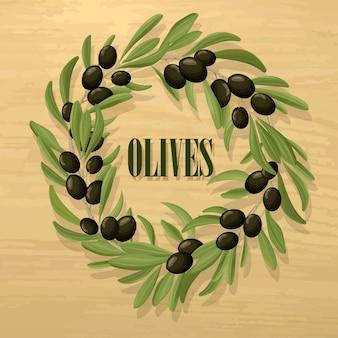 Plantilla de aceituna negra natural de dibujos animados
