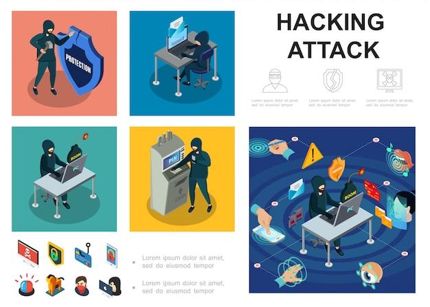 Plantilla de actividad de piratas informáticos isométrica con servidores de computadoras atm pirateo cibernético ladrón dinero en línea robar seguridad de autorización biométrica