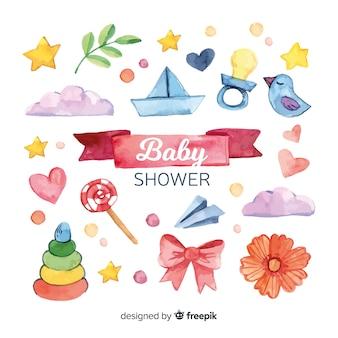 Plantilla de acuarela de baby shower