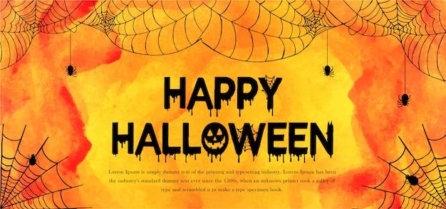 Plantilla de acuarela banner de halloween