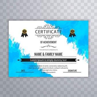 Plantilla de acuarela de certificado de logro
