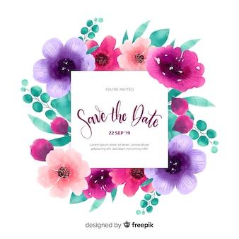 Plantilla en acuarela de invitación de salvar la fecha