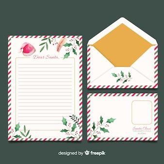 Plantilla acuarela papelería de navidad