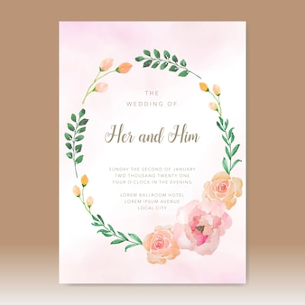 Plantilla de acuarela de tarjeta de invitación de boda simple con hermosas flores