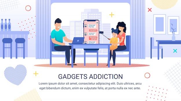 Plantilla de adicción a gadgets de inscripción de banner brillante