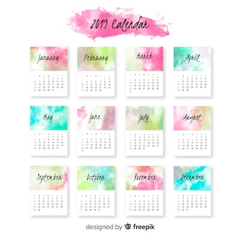 Plantilla adorable de calendario de 2019 en acuarela