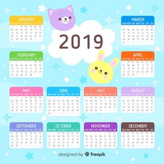 Plantilla adorable de calendario de 2019 con diseño plano