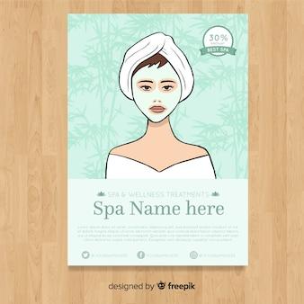 Plantilla adorable de folleto de spa dibuajdo a mano