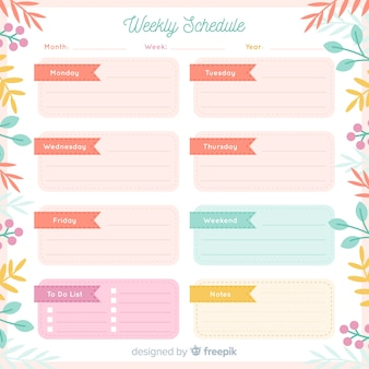 Plantilla adorable de horario semanal con estilo floral