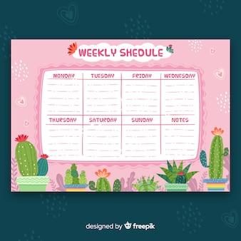 Plantilla adorable de horario semanal dibujado a mano