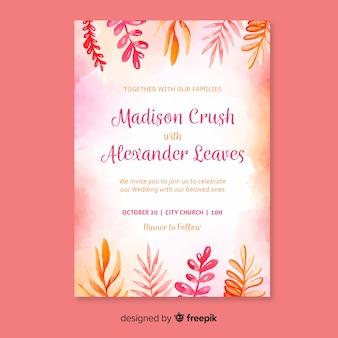 Plantilla adorable de invitación de boda con hojas en acuarela