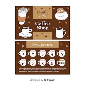 Plantilla adorable de tarjeta de cliente de cafetería
