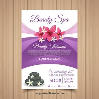 Plantilla adorable de folleto de spa con elementos de diseño plano