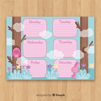 Plantilla adorable de horario semanal dibujada a mano