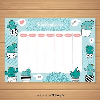 Plantilla adorable de horiario semanal con diseño colorido